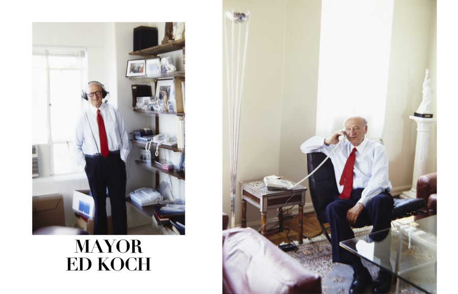 Mayor Ed Koch photographed in his home in Manhattan, New York. Copyright Michael Mundy